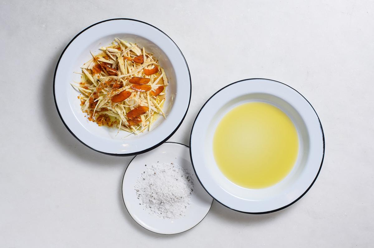 Azeite extravirgem: essa semana, no mesa3café - salada de palmito pupunha, botarga, azeite Borriello